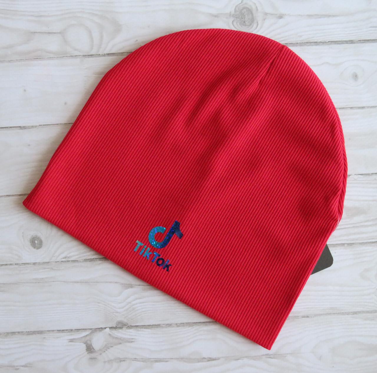 Детская трикотажная шапка TikTok рубчик, красная