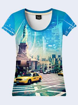 Женская футболка с рисунком Нью Йорк такси