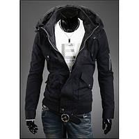 Мужская черная куртка дизайнерская на флисе 12П8010-1