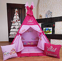 """Вигвам """"Принцессы с каретами Именной!"""" Полный комплект! Вигвам детский, детский вигвам, детский домик"""