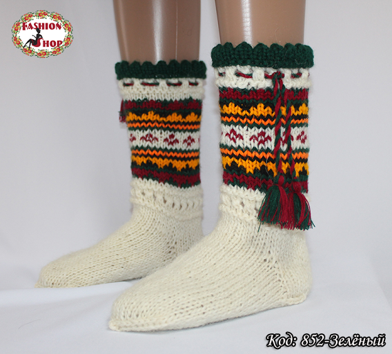 Женские зелёные носки из настоящей овечьей шерсти Гойра