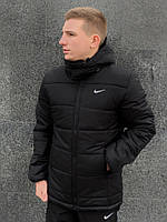 Теплая зимняя мужская куртка с капюшоном на флисе, черная молодежная стильная