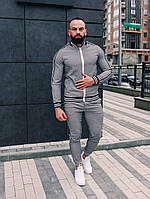 Спортивный костюм мужской модный стильный серый в клеточку Тренер