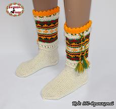 Женские оранжевые носки из настоящей овечьей шерсти Гойра, фото 2