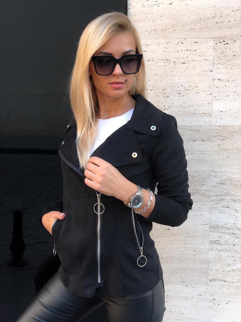 Женская куртка, замш - стрейч, р-р 42-44; 46-48 (чёрный)
