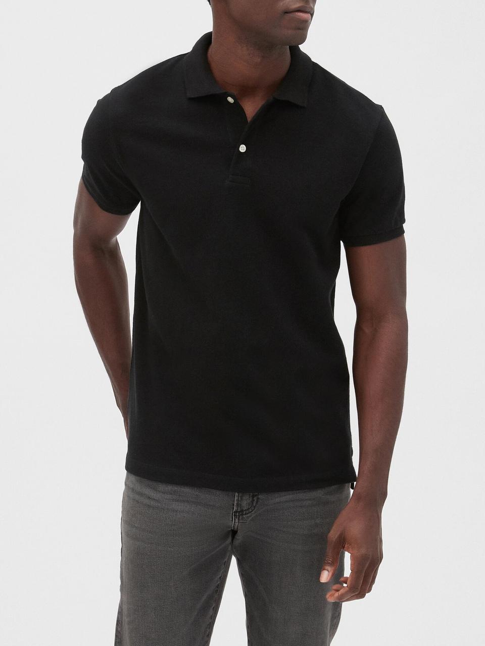 Мужская  футболка-поло GAP art761566 (Черный, размер S)