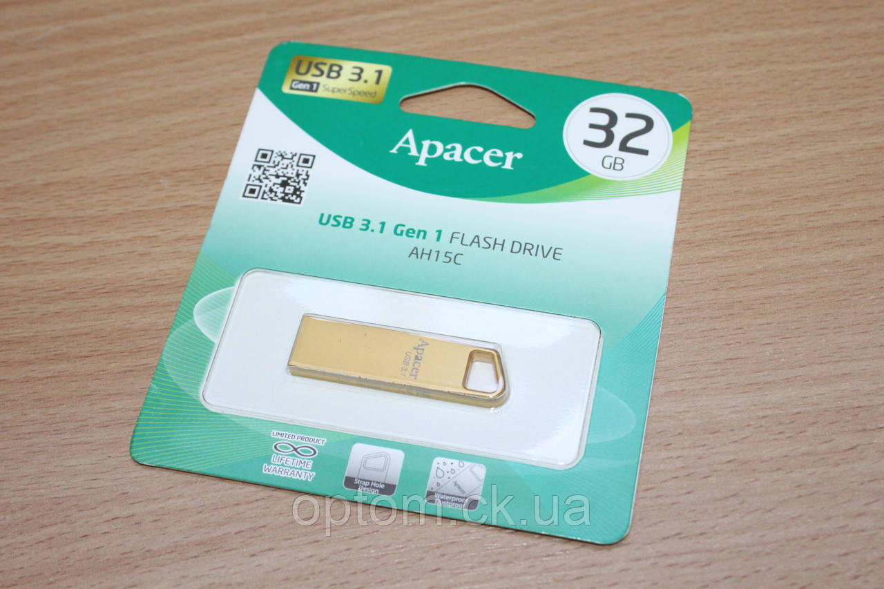 Флешка USB 3.1 Apacer AH15C 32Gb Metal Gold