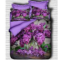 Постельное белье Lighthouse ranforce 3D Purple Lilac Двуспальный евро комплект