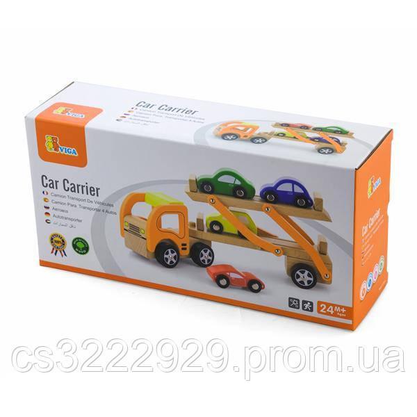 Деревянная игрушечная машинка Viga Toys Автотрейлер (50825)