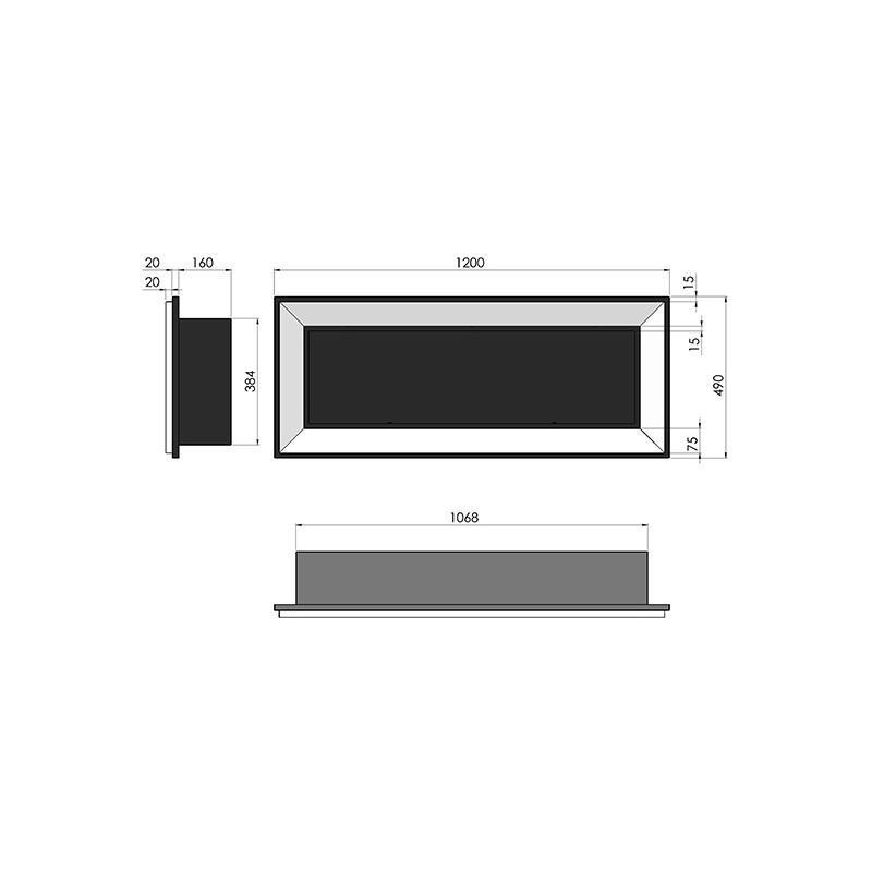 Биокамин Frame 120см белый с стеклом