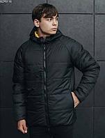 Куртка мужская черная желтая двусторонняя осенняя демисезонная Staff Стафф