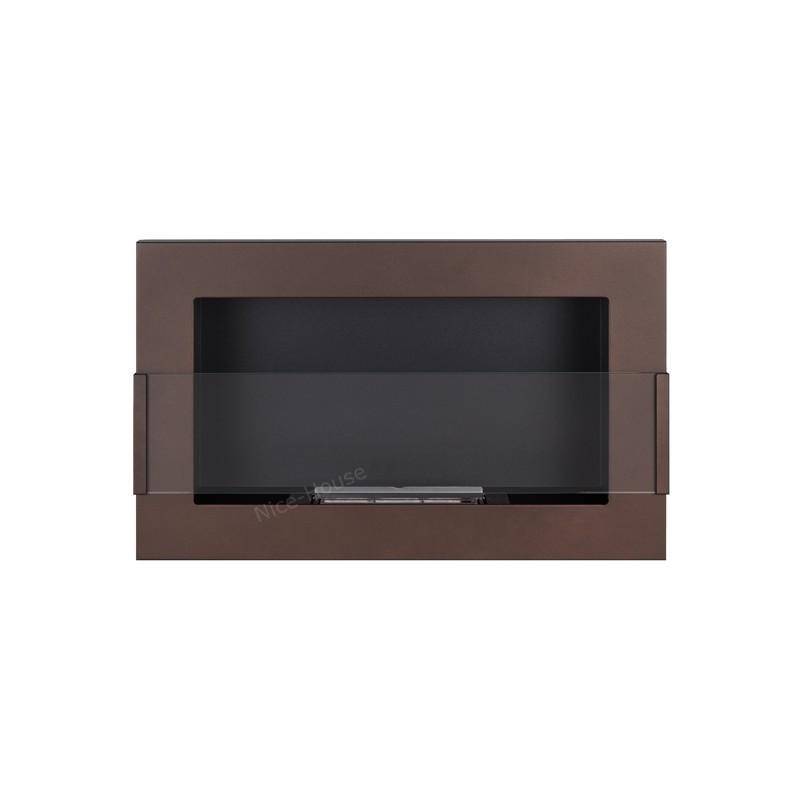 Биокамин коричневый 65x40cm с стеклом из серии Nice-House