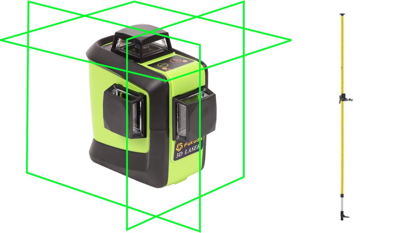 Лазерный уровень (нивелир) Fukuda 3D 93T-1 зеленый луч+штанга распорная  3,5м