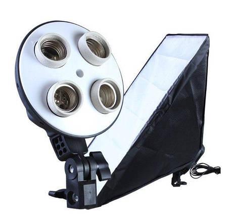 Постоянный студийный свет Е27 на 4 лампы  Софтбокс 50 x 70 см., фото 2