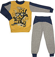 Детская тёплая пижама с начёсом рост 104 3-4 года трикотажная интерлок синяя на мальчика для детей М888