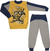 Детская тёплая пижама с начёсом рост 110 4 года-5 лет трикотажная интерлок синяя на мальчика для детей М888