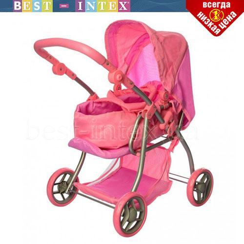 Коляска 9672 MELOGO для куклы Цвет Розовый + люлька-переноска