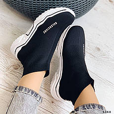 Кроссовки женские черные текстильные. Кросівки жіночі чорні, фото 3