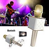Микрофон караоке для детей беспроводной Q7 Розовый Rose USB Bluetooth с чехлом Игрушка микрофон с динамиком, фото 6