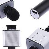 Микрофон караоке для детей беспроводной Q7 Розовый Rose USB Bluetooth с чехлом Игрушка микрофон с динамиком, фото 9