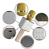 Микрофон караоке для детей беспроводной Q7 Розовый Rose USB Bluetooth с чехлом Игрушка микрофон с динамиком, фото 10