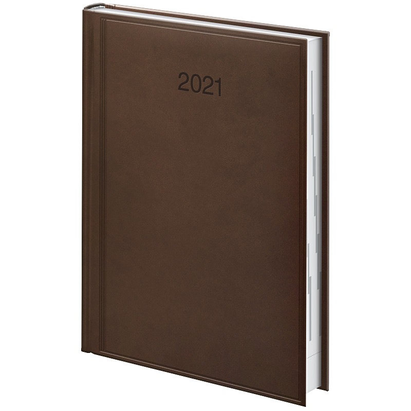 Ежедневник датированный в линию Brunnen 2021 Стандарт Torino, 336 страниц, А5 коричневый