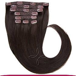 Натуральне Європейське Волосся на Заколках 50 см 160 грам, Шоколад №1C