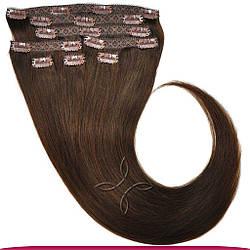 Натуральне Європейське Волосся на Заколках 50 см 160 грам, Шоколад №02
