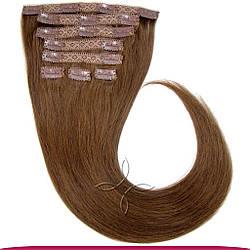 Натуральне Європейське Волосся на Заколках 50 см 160 грам, Шоколад №04
