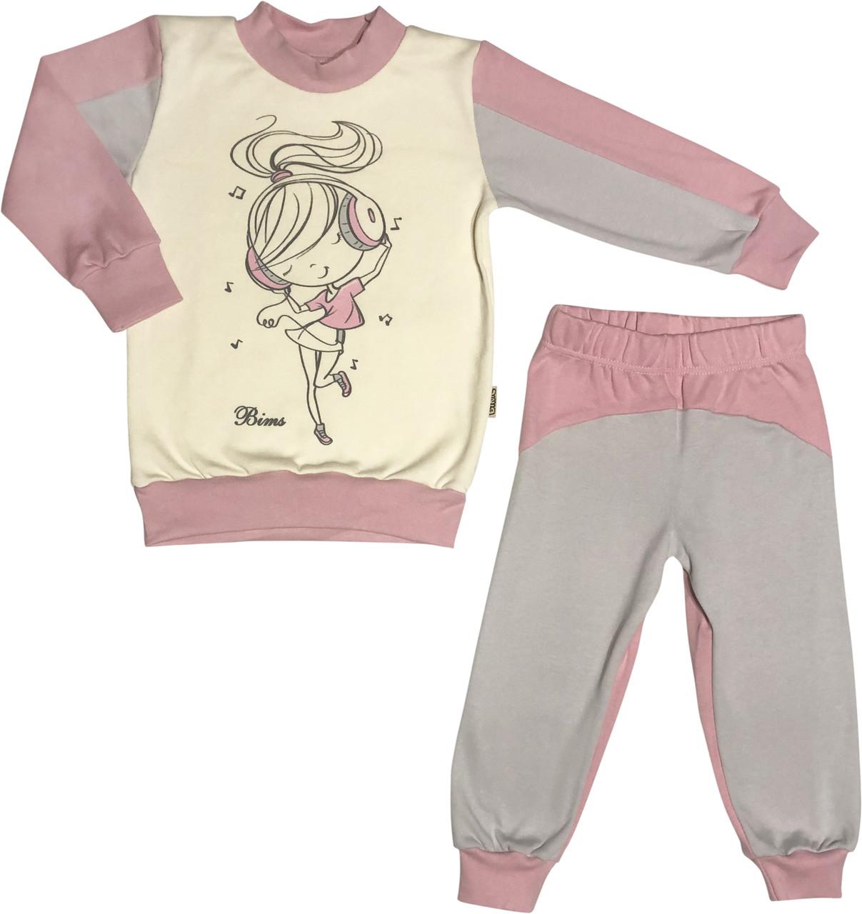 Дитяча піжама з начосом зростання 86 1 рік-1,5 року інтерлок рожевий на дівчинку для малюків Д-886