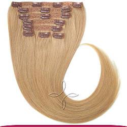 Натуральне Європейське Волосся на Заколках 50 см 160 грам, Світло-Русявий №16