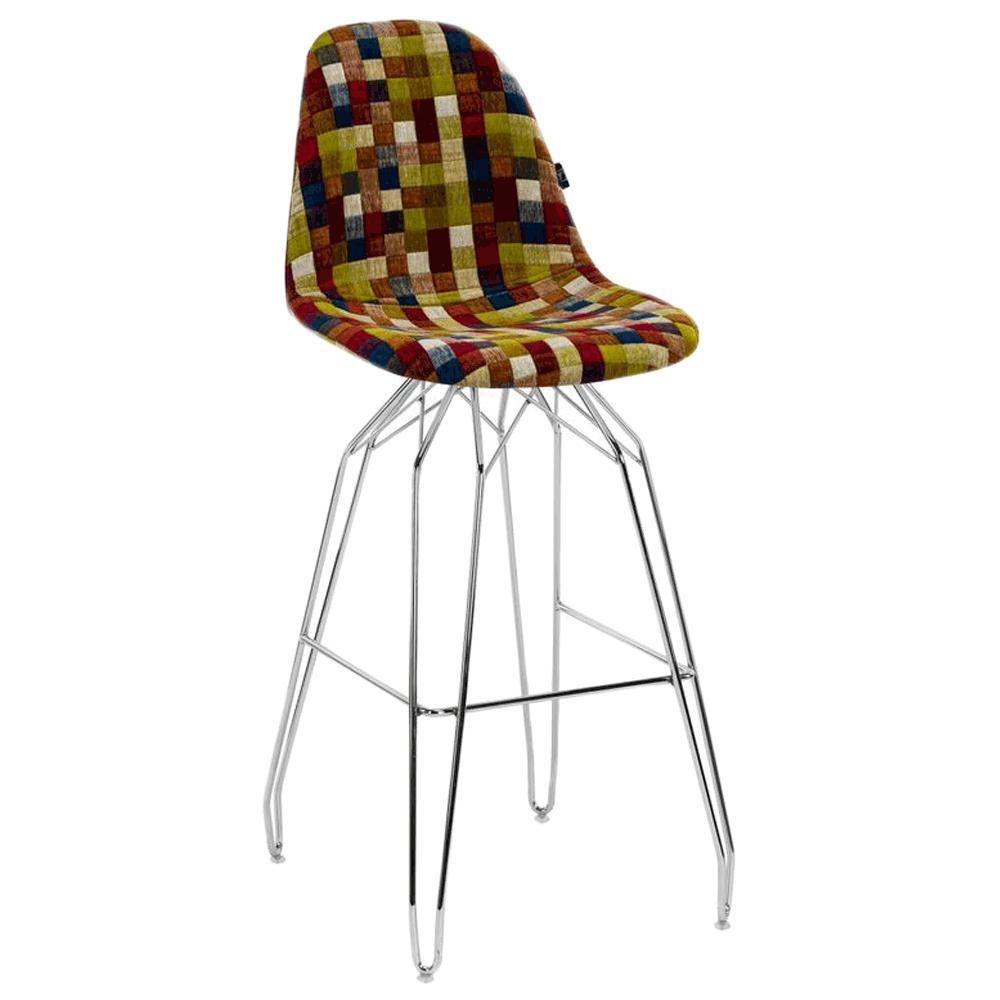 Стул барный Tilia Eos-M сиденье с тканью, ножки металлические хромированные COLOURBOX 7701