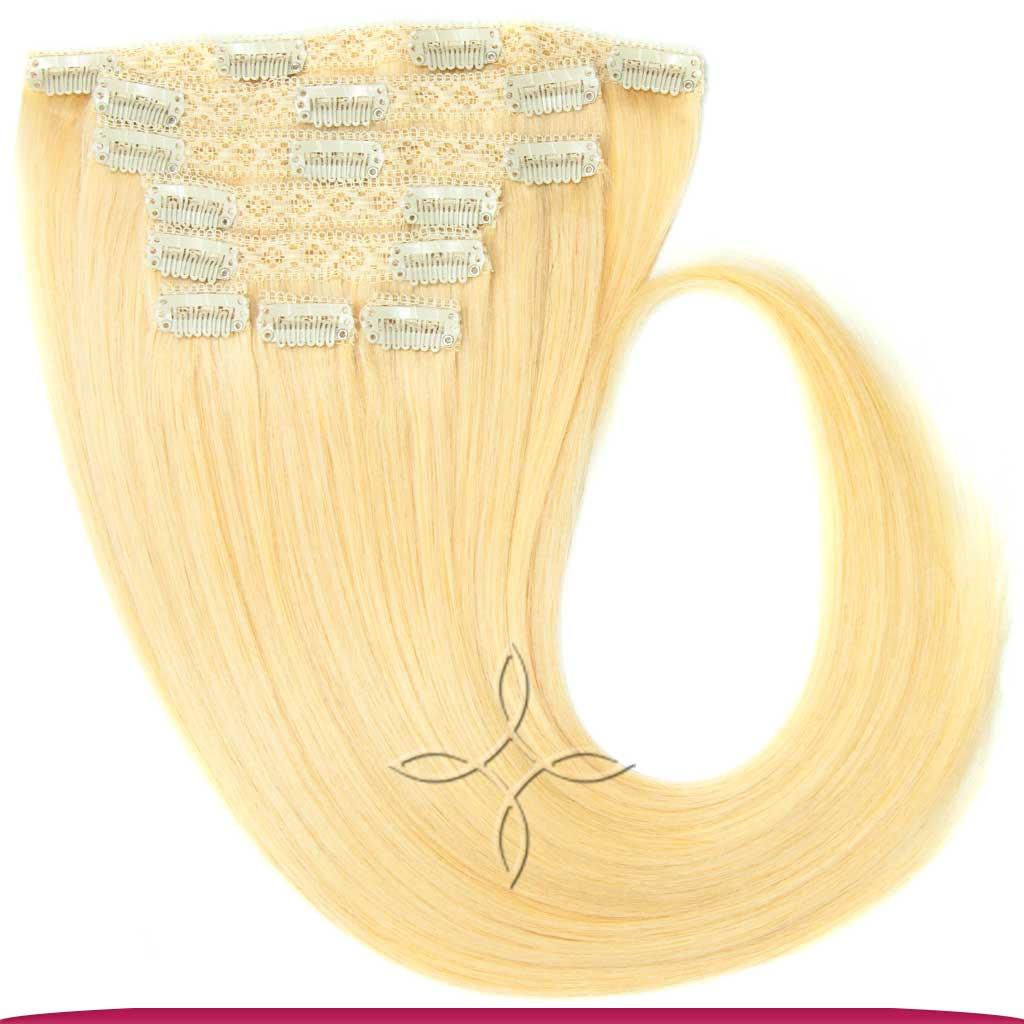 Натуральные Европейские Волосы на Заколках 50 см 160 грамм, Блонд №22