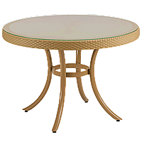 Стол Tilia Osaka d110 см столешница из стекла, ножки алюминиевые цвет дерево, фото 1