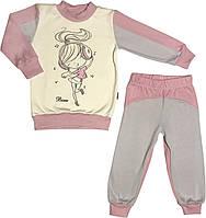 Детская тёплая пижама с начёсом рост 110 4 года-5 лет трикотажная интерлок розовая на девочку для детей Д886