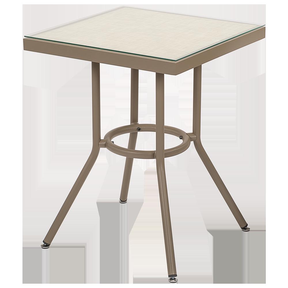 Стол Tilia Kobe 80x80 см столешница из стекла кофейный - лён