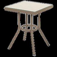 Стол Tilia Kobe 80x80 см столешница из стекла кофейный - лён, фото 1
