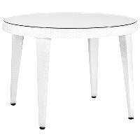 Стол Tilia Osaka d110 см столешница из стекла, ножки пластиковые белая слоновая кость, фото 1