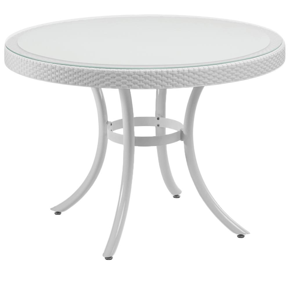 Стол Tilia Osaka d110 см столешница из стекла, ножки алюминиевые белая слоновая кость