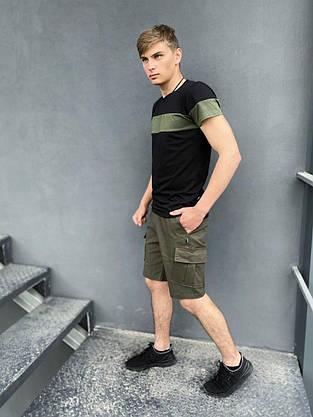 """Комплект Футболка """"Color Stripe"""" черная - хаки + Шорты Miami хаки Intruder, фото 3"""