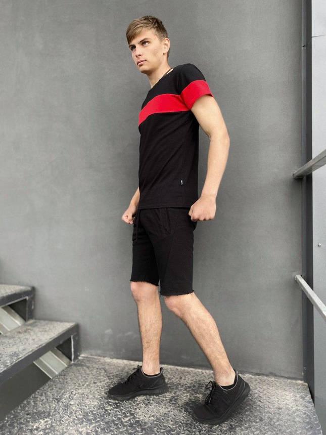 """Комплект летний Футболка """"Color Stripe"""" черная - красная+ Шорты трикотажные черные Intruder, фото 2"""