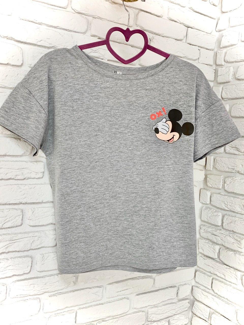 Женская футболка хлопок серая с принтом Mickey Mouse микки маус Ox