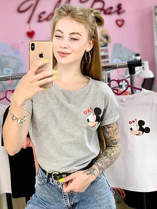 Женская футболка хлопок серая с принтом Mickey Mouse микки маус Ox, фото 3