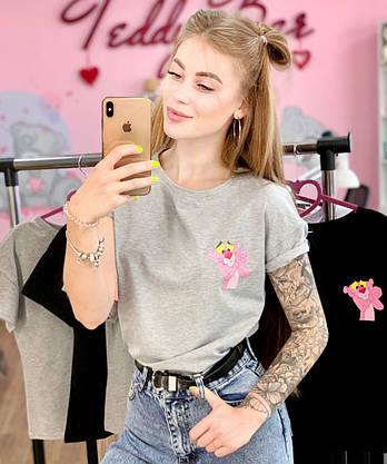 Женская футболка хлопок серая с принтом Pink panther розовая пантера, фото 3
