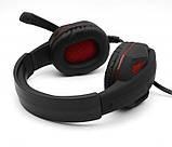 Навушники ігрові KOMC G20 з мікрофоном і підсвіткою USB + 2xMini-Jack 3.5 mm Black-Red, фото 5