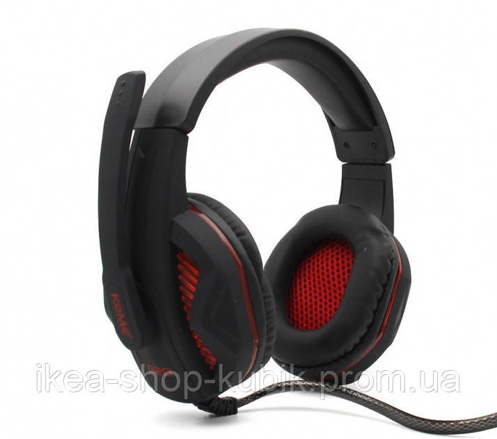 Навушники ігрові KOMC G20 з мікрофоном і підсвіткою USB + 2xMini-Jack 3.5 mm Black-Red