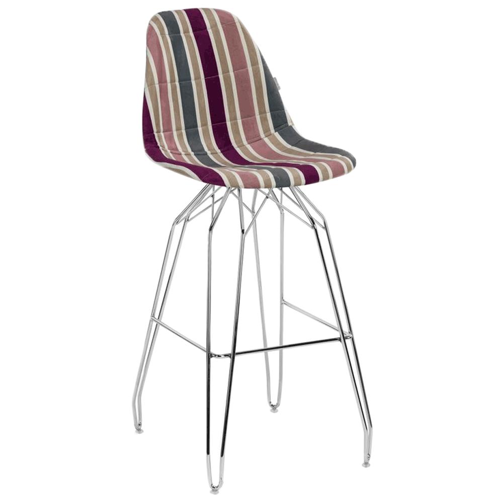 Стілець барний Tilia Eos-M сидіння з тканиною, ніжки металеві хромовані ARTCLASS 903