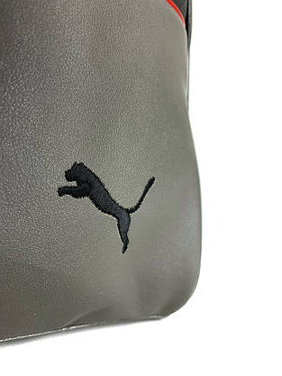 Сумка кожаная спортивная серая (унисекс) Puma, Пума, фото 3