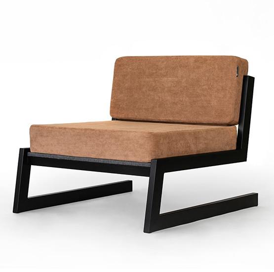 """Коричневое кресло """"SOFT"""" в стиле LOFT из металла и ткани"""