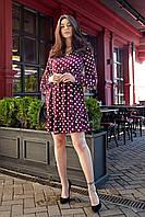 Милое коротенькое платье в горошек сливового цвета